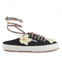 SHOES - SABOT FLOWER MULE BLACK