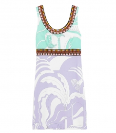 SALES - LA VILLA PRINT BEAD-EMBROIDERED DRESS