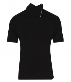 ALEXANDER WANG - RIBBED TURTLENECK TEE WITH SPLITTABLE ZIP