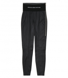 ALEXANDER WANG - STRETCH LEATHER LEGGING WITH ELASTIC WASITBAND