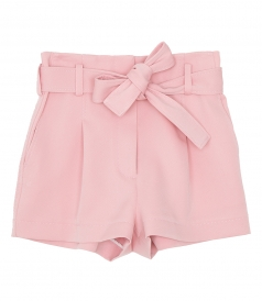 CLOTHES - BELTED HIGH WAIST STRUCTURED TWILL SHORT