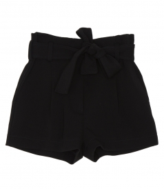 SHORTS - BELTED HIGH WAIST STRUCTURED TWILL SHORT