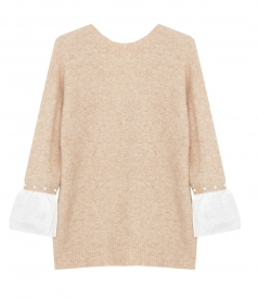 3.1 PHILLIP LIM - LOFTY  V NECK PULLOVER WITH PEARL CUFF