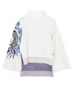 3.1 PHILLIP LIM - HIGH NECK PULLOVER WITH JACQUARD SLVES