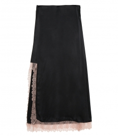 CLOTHES - SATIN HIGH SLIT SKIRT WITH LACE