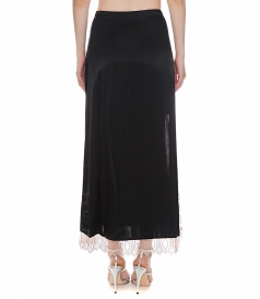 SATIN HIGH SLIT SKIRT WITH LACE