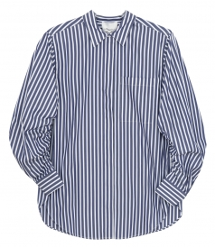 SHIRTS - STRIPED GATHERED SLV SHIRT