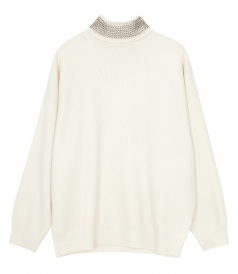 KNITWEAR - TURTLENECK PULLOVER WITH CRUSTAL