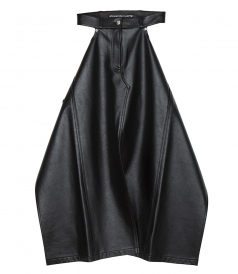 CLOTHES - LEATHER APRON SKIRT WITH DENIM