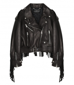 JACOB LEE - OVERSIZE FRINGLES BIKER JACKET