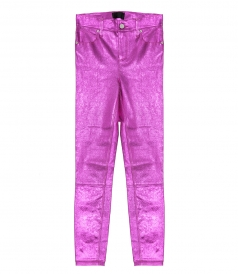 CLOTHES - MADRID METALLIC TEXTURED-LEATHER SLIM-LEG PANTS