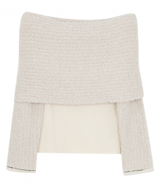 3.1 PHILLIP LIM - OFF-THE-SHOULDER RIBBED-KNIT AND BOUCLE SWEATER
