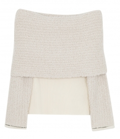 KNITWEAR - OFF-THE-SHOULDER RIBBED-KNIT AND BOUCLE SWEATER
