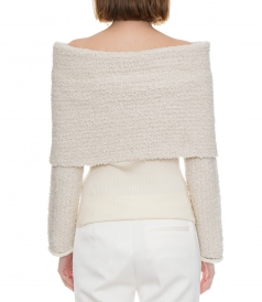 OFF-THE-SHOULDER RIBBED-KNIT AND BOUCLE SWEATER