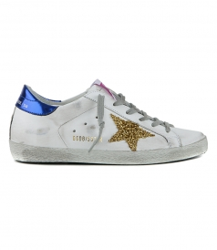 SHOES - SNEAKERS SUPERSTAR WHITE LEATHER GOLD POODLE STAR