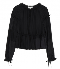 3.1 PHILLIP LIM - LS GATHERED PLEATED TOP