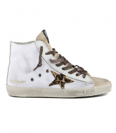 WHITE CANVAS SNEAKERS WITH GGDB STAR IN LEOPARD-PRINT PONY SKIN