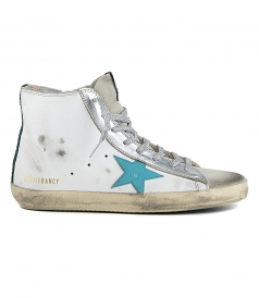 WHITE LEATHER - BLUE STAR SNEAKERS FRANCY