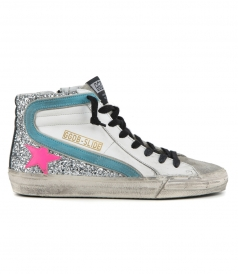 SLIDE SNEAKERS IN WHITE LEATHER AND GLITTER