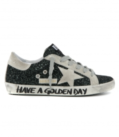 SHOES - SUPERSTAR SNEAKERS IN GREEN GLITTER WITH