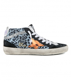 MID STAR SNEAKERS LIGHT BLUE LEOPARD WITH GOLD STAR