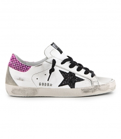 SHOES - WHITE LEATHER FUXIA PYTHON SUPERSTAR SNEAKERS