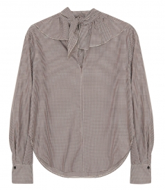 CLOTHES - RUFFLED HOUNDSTOOTH CREPE BLOUSE