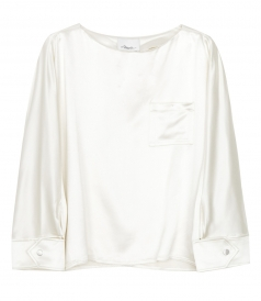 3.1 PHILLIP LIM - SNAP CUFF SATIN BLOUSE