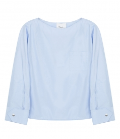 3.1 PHILLIP LIM - POPLIN BLOUSE WITH SNAP CUFS