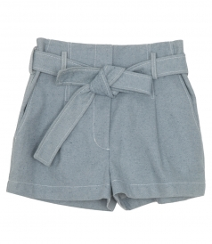 CLOTHES - BELTED HIGH WAIST DENIM SHORTS