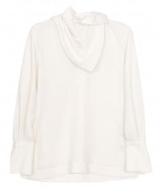 CLOTHES - LONG SLEEVE CREPE BLOUSE WITH REMOVABLE SCARF