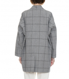 WINDOW PANE CARDIGAN COAT