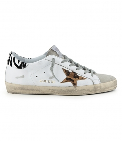 SHOES - WHITE LEATHER PONY LEO STAR SUPERSTAR SNEAKERS