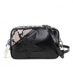 STAR BAG WITH STUDS, CRYSTALS AND SNAKESKIN PRINT