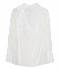 TOPS - SCARF-NECK LOGO TOP IN WHITE