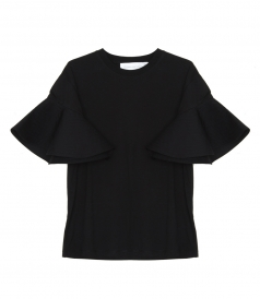 CLOTHES - RUFFLE SLEEVE T-SHIRT IN BLACK