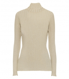 VICTORIA, VICTORIA BECKHAM - SLIM FIT POLO NECK JUMPER IN GOLD LUREX