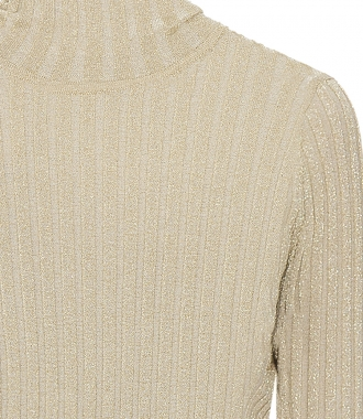 SLIM FIT POLO NECK JUMPER IN GOLD LUREX