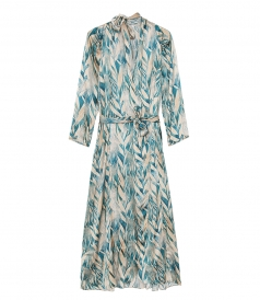 "FORTE FORTE - DRESS IN SILK SATIN WITH ""FORESTA INCANTATA"" PRINT"