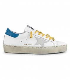 WHITE BLUE LEATHER HI STAR SNEAKERS