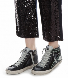 SLIDE SNEAKERS IN BLACK SEQUINS