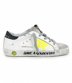 SHOES - SUPERSTAR SNEAKERS WITH YELLOW PAINTED STAR