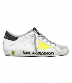 YELLOW PAINTED STAR SUPERSTAR SNEAKERS