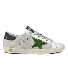GOLDEN GOOSE  - SILVER MESH SUPERSTAR SNEAKERS