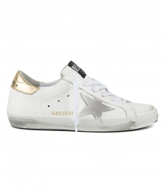 SHOES - WHITE LEATHER WASHED GOLD SUPERSTAR SNEAKERS