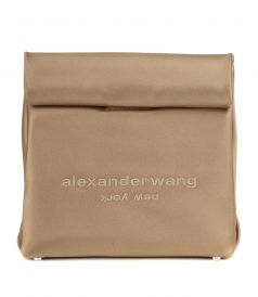RUNWAY SATIN LUNCH BAG CLUTCH WALNUT