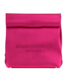 ALEXANDER WANG - RUNWAY SATIN LUNCH BAG CLUTCH HOT PINK