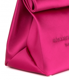RUNWAY SATIN LUNCH BAG CLUTCH HOT PINK