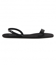 SANDALS - RYDER FOLDING FLAT BLACK SATIN