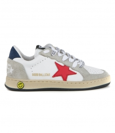 WHITE BLUE NABUK BALL STAR SNEAKERS